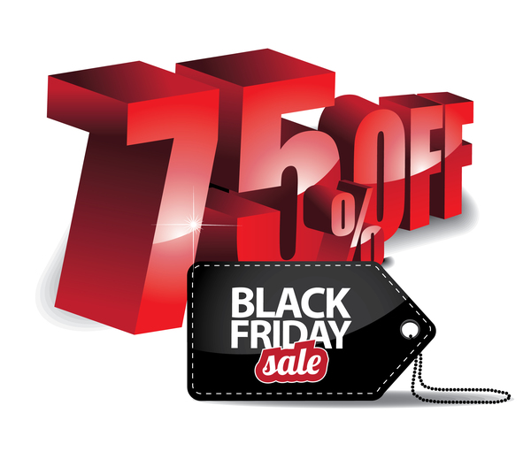 Black friday sale tag with discount vector 08