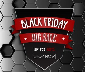 Black friday sale with hexagon 3D background vector 01