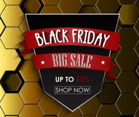 Black friday sale with hexagon 3D background vector 02
