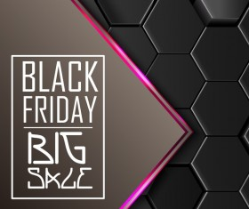 Black friday sale with hexagon 3D background vector 03