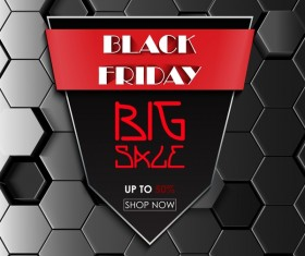 Black friday sale with hexagon 3D background vector 04