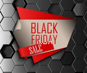 Black friday sale with hexagon 3D background vector 05
