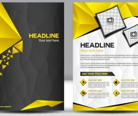 Black with yellow comany flyer and cover brochure template vector 01