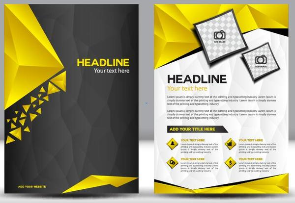 Black With Yellow Comany Flyer And Cover Brochure Template Vector