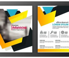 Black with yellow comany flyer and cover brochure template vector 02