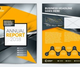 Black with yellow comany flyer and cover brochure template vector 04