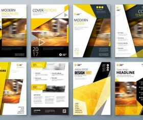 Black with yellow comany flyer and cover brochure template vector 05
