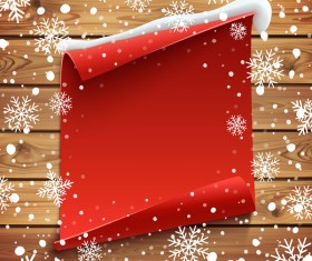 Blank red paper with snow and wooden background vector