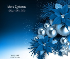 Blue christmas background with shiny jewelry vector 01