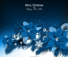 Blue christmas background with shiny jewelry vector 02