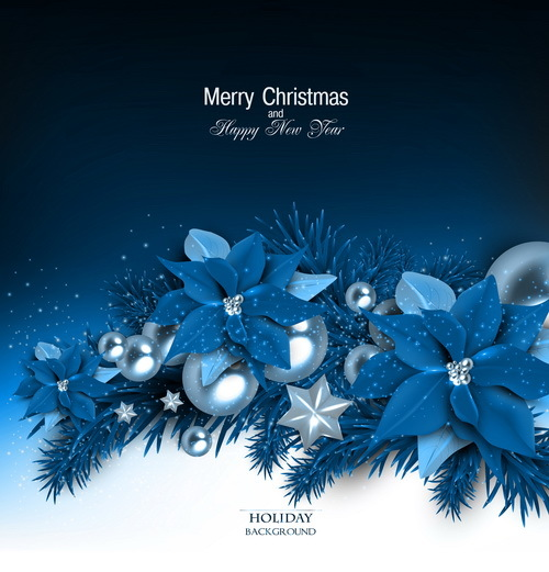 blue christmas background with shiny jewelry vector 02 - Blue Christmas Background