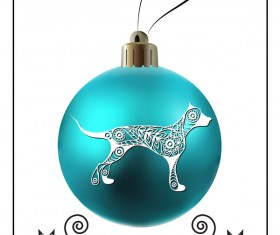 Blue christmas ball with new year dog frame vector 01
