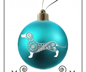 Blue christmas ball with new year dog frame vector 03