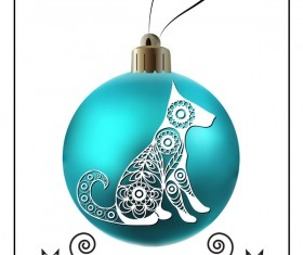Blue christmas ball with new year dog frame vector 04