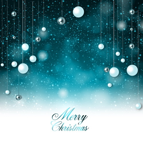 Blue christmas decor with background vector