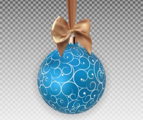 Blue floral xmas baubles with beige bow illustration vector