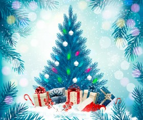 Blue holiday background with christmas tree vector