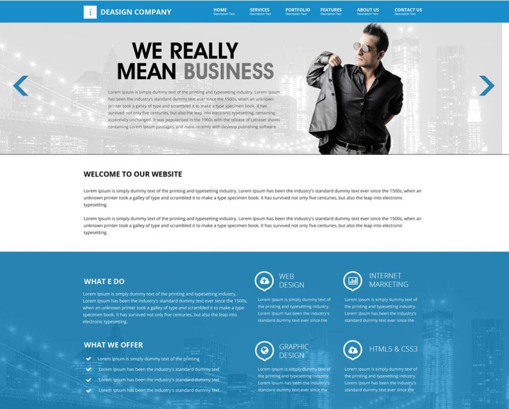 Blue style Company Website PSD template