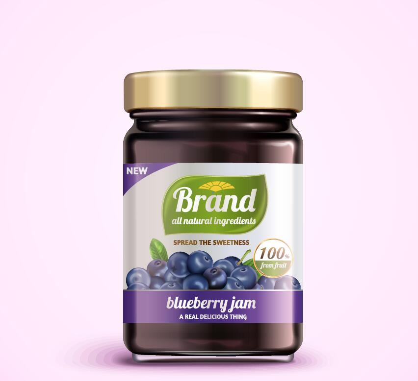 Blueberry jam package jar vector