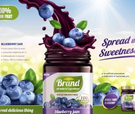 Blueberry jam poster template vectors 01