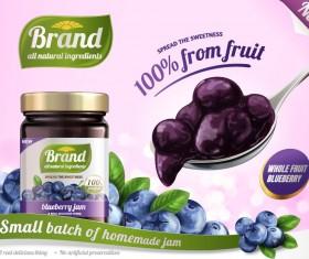 Blueberry jam poster template vectors 02