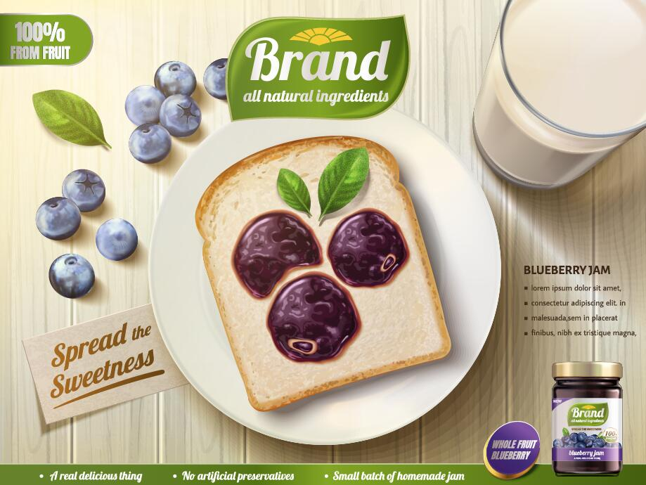 Blueberry jam poster with bread vector