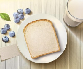 Bread with blueberry and milk vector