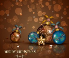 Brown christmas background with baubles vector