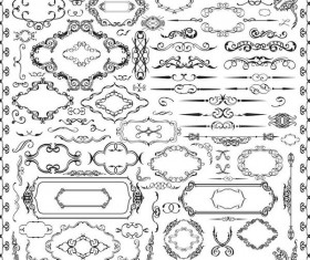 Calligraphy ornaments with borders and frame vector