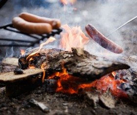 Campfire roasted sausage Stock Photo