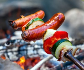 Camping barbecue Stock Photo