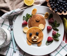 Cartoon style homemade pancake Stock Photo