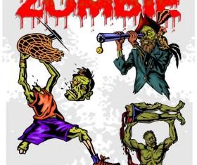 Cartoon zombie illustration vector set 01