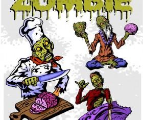 Cartoon zombie illustration vector set 03