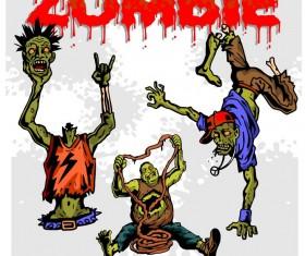 Cartoon zombie illustration vector set 04