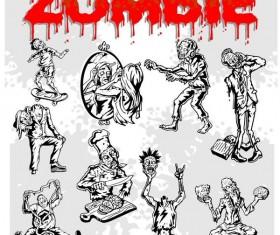 Cartoon zombie illustration vector set 05