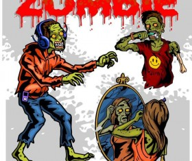 Cartoon zombie illustration vector set 06