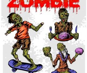 Cartoon zombie illustration vector set 07
