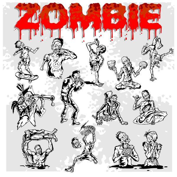 Cartoon zombie illustration vector set 08