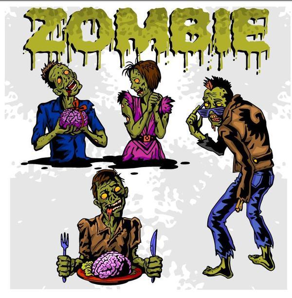 Cartoon zombie illustration vector set 09