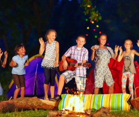 Childrens campfire party Stock Photo