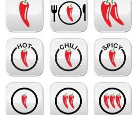 Chili pepper icons set