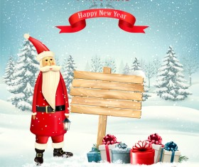 Chistmas background with winter tree and wooden sign vector