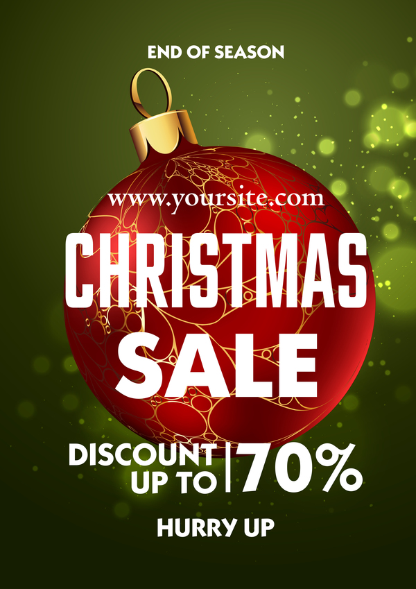 Christmas Sale discount poster template vector free download