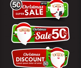 Christmas Sale red and green web banner vector
