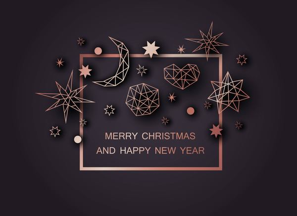 Christmas and happy ney year black background with polygon decor vector