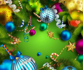 Christmas background with colorful decorative vectors