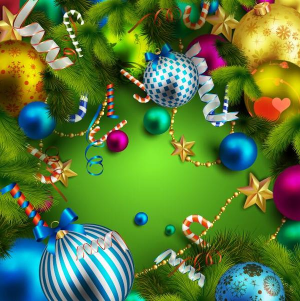 Colorful Christmas Background Design.Christmas Background With Colorful Decorative Vectors Free