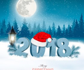 Christmas background with santa hat and 2018 vector