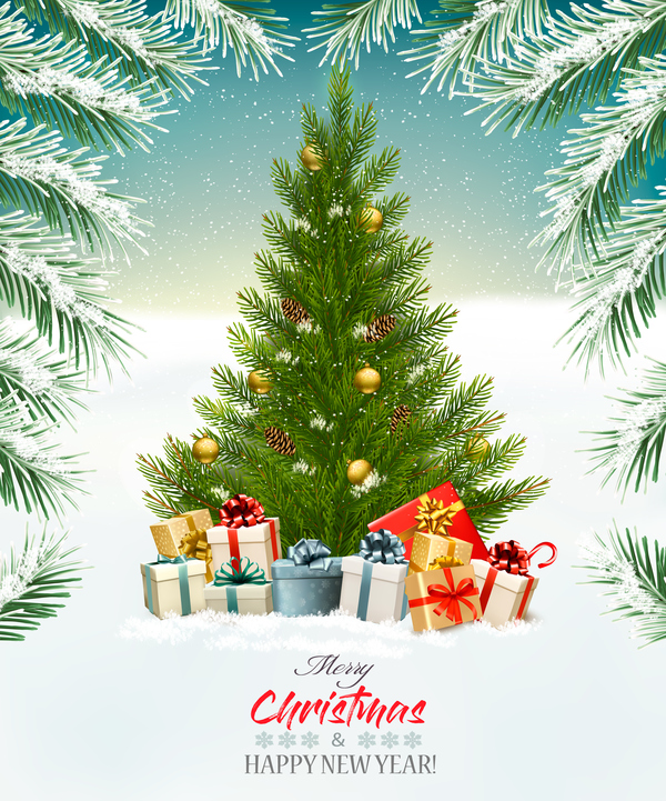 Christmas background with tree and gift boxes vector